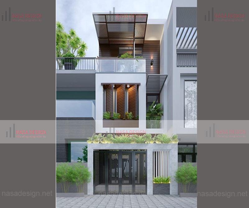 mẫu nhà phố đẹp thiết kế hiện đại - m12